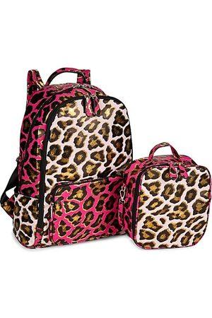 Bari Lynn Girls Rucksacks - Girl's Metallic Leopard 2-Piece Backpack & Lunch Box Set