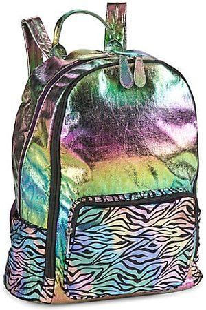 Bari Lynn Girls Rucksacks - Distressed Rainbow Zebra Backpack
