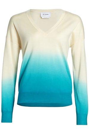 ST. JOHN Dip-Dye Knit V-Neck Sweater
