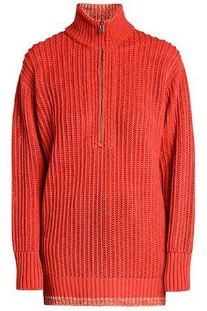 Agnona Ribbed Cashmere Quarter Zip Sweater