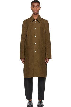 Men Trench Coats - 3MAN Khaki Slim Snap Trench Coat