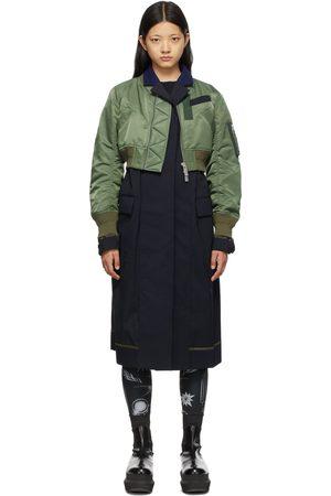 Sacai Navy & Khaki Bomber Jacket Suit Coat