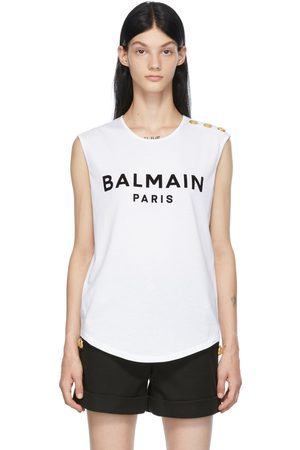 Balmain Button Flocked Logo Tank Top