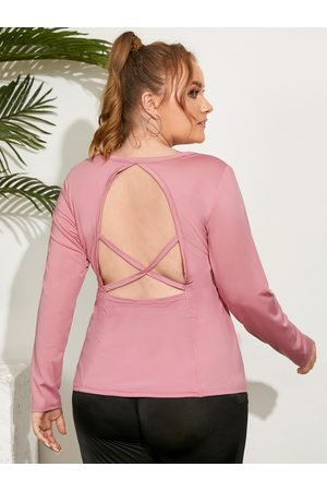 YOINS Plus Size Backless Design Criss-Cross Long Sleeves Tee