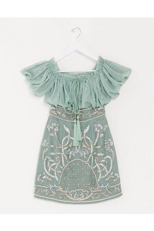 ASOS DESIGN Blouson bodice off shoulder mini dress with embellished skirt in sage