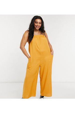 ASOS Curve ASOS DESIGN curve cami minimal pocket jumpsuit in acorn