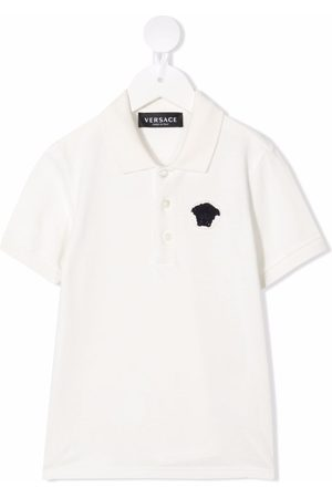 Versace Kids Medusa-motif embroidered polo shirt