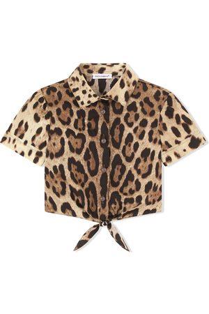 Dolce & Gabbana Kids Leopard-print knot-front shirt