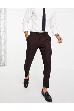 ASOS Men Formal Pants - Wedding super skinny wool mix suit trousers in burgundy twill