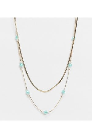Reclaimed Vintage Inspired mint faux pearl multirow necklace in