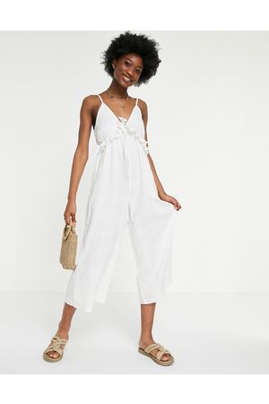 ASOS V neck check frill tie culotte jumpsuit in