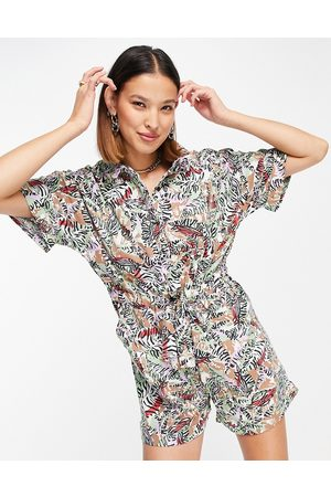 Noisy May Playsuit in tropical print-Multi