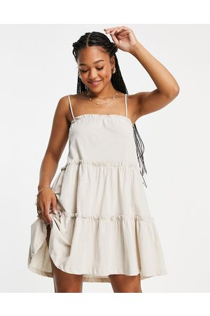 ASOS Strappy sundress with tiered frill detail in stone