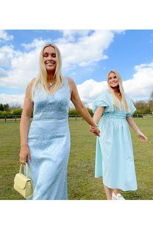 Labelrail X Olivia & Alice midi slip dress in tonal spot satin