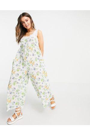ASOS Broderie trim jumpsuit in vintage floral-Multi