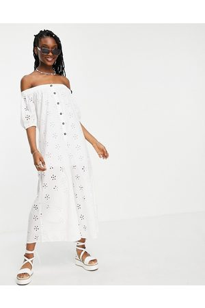 ASOS Off shoulder puff sleeve button front jumpsuit in broderie