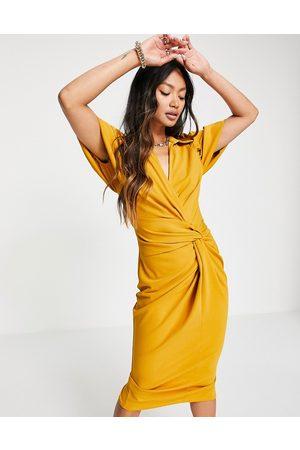 ASOS Shirt knot detail wrap midi dress in mustard