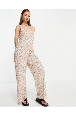 VILA Women Jumpsuits - Floral wide leg jumpsuit with shoulder detail-Multi