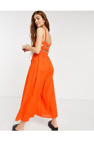 ASOS Shirred elastic back jumpsuit in tomato