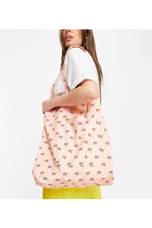 Reclaimed Inspired canvas tote bag in all over monogram