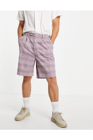 ASOS High waist slim smart shorts in lilac seersucker linen