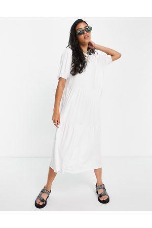 ASOS Tiered smock t-shirt midi dress in