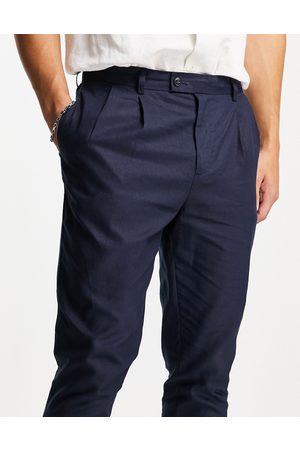 Gianni Feraud Men Sets - Co-ord navy linen pleated trousers