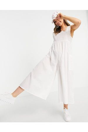 ASOS Women Jumpsuits - Broderie trim jumpsuit in
