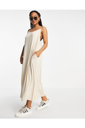 ASOS DESIGN Gathered neck strappy midi sundress with pockets in stone