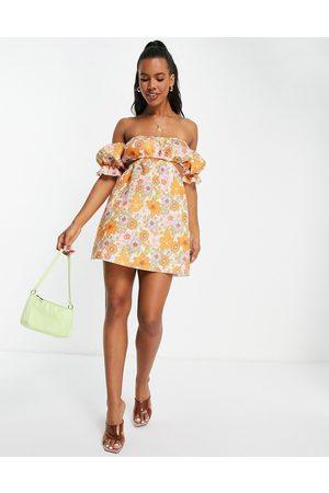 ASOS Women Printed Dresses - Off shoulder cut out mini skater dress in 70's floral print-Multi