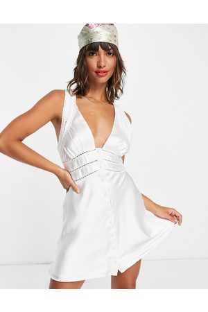 ASOS Satin mini dress with lace trim detail and button front