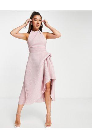 ASOS High neck plisse prom midi dress in rose