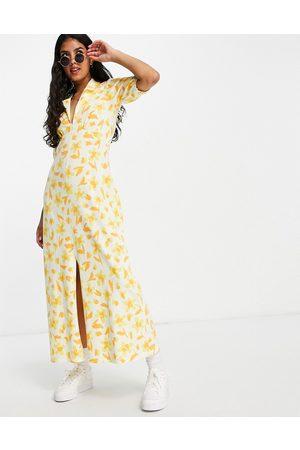 ASOS DESIGN Ultimate midi tea dress in yellow floral print-Multi