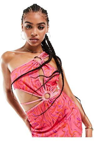 AsYou Women Asymmetrical Dresses - Asymmetric ring detail printed mini dress in multi