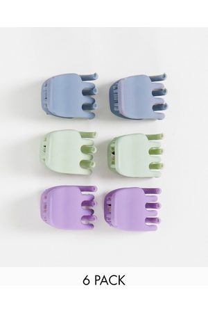 ASOS Pack of 6 mini hair claws in pastel colours-Multi