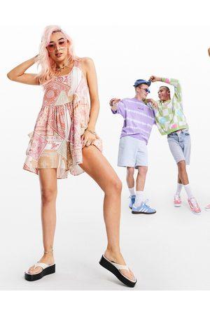 ASOS Smock sleeveless playsuit in paisley print-Multi