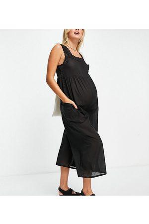 ASOS Women Jumpsuits - ASOS DESIGN maternity broderie trim jumpsuit in