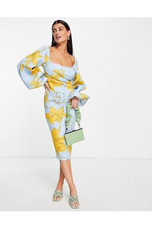 ASOS Women Casual Dresses - Square neck wrap bust super sleeve pencil midi dress in oversized floral print-Multi