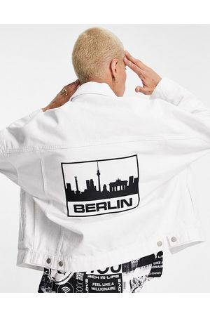 ASOS Men Denim Jackets - Oversized denim jacket with Berlin embroidery in