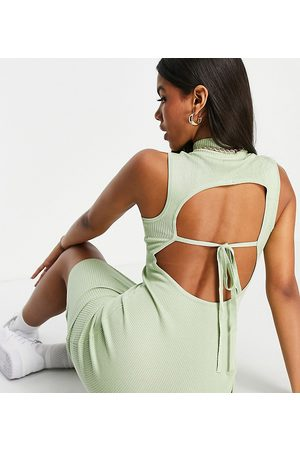 Missguided Women Midi Dresses - Co-ord ribbed backless midi dress with high neck in sage