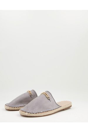 Truffle Collection Faux suede backless espadrilles with metal trim in