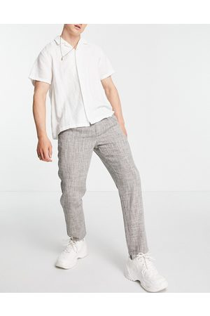 ASOS Cigarette fit trousers in lightweight texture-Neutral