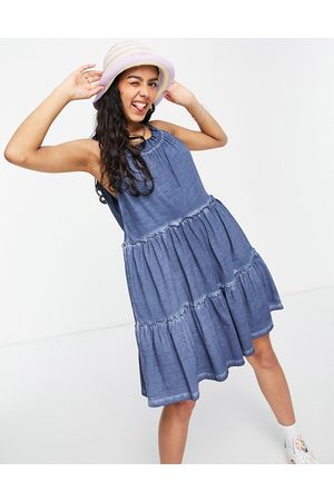 ASOS Gathered neck tiered mini in acid wash