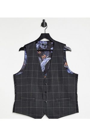 Gianni Feraud Plus slim fit windowpane check waistcoat