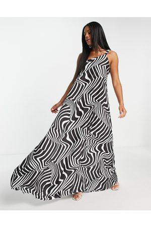 ASOS Women Printed Dresses - One shoulder scrunch elastic pleated maxi dress in zebra print-Multi