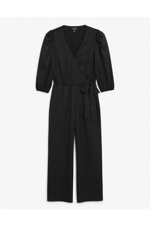 Monki Women Jumpsuits - Tia jersey wrap jumpsuit in