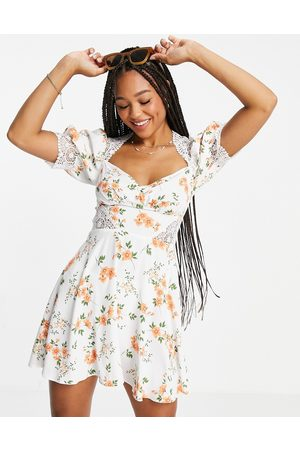 ASOS Lace insert mini dress in ditsy floral-Multi