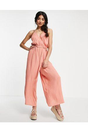 ASOS Women Culottes - Wrap front cami culotte trim jumpsuit in rust