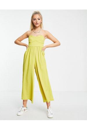ASOS Women Jumpsuits - Textured bandeau jumpsuit in chartreuse