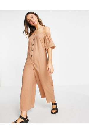ASOS Off shoulder button front dobby jumpsuit in mocha
